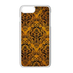 Damask1 Black Marble & Yellow Grunge Apple Iphone 8 Plus Seamless Case (white) by trendistuff