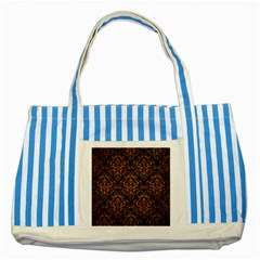 Damask1 Black Marble & Yellow Grunge (r) Striped Blue Tote Bag by trendistuff