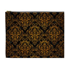 Damask1 Black Marble & Yellow Grunge (r) Cosmetic Bag (xl) by trendistuff