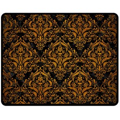 Damask1 Black Marble & Yellow Grunge (r) Double Sided Fleece Blanket (medium)  by trendistuff