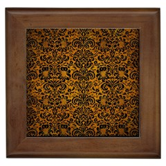 Damask2 Black Marble & Yellow Grunge Framed Tiles by trendistuff