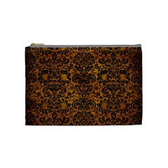 Damask2 Black Marble & Yellow Grunge Cosmetic Bag (medium)  by trendistuff