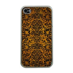 Damask2 Black Marble & Yellow Grunge Apple Iphone 4 Case (clear) by trendistuff