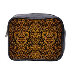 Damask2 Black Marble & Yellow Grunge (r) Mini Toiletries Bag 2 Side by trendistuff