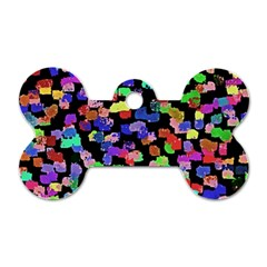 Colorful Paint Strokes On A Black Background                                Dog Tag Bone (one Side) by LalyLauraFLM