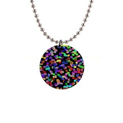 Colorful Paint Strokes On A Black Background                                1  Button Necklace by LalyLauraFLM