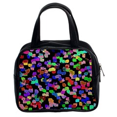 Colorful Paint Strokes On A Black Background                                Classic Handbag (two Sides) by LalyLauraFLM
