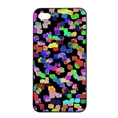 Colorful Paint Strokes On A Black Background                          Apple Iphone 4/4s Seamless Case (black) by LalyLauraFLM