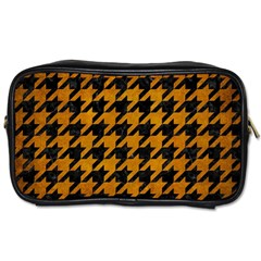 Houndstooth1 Black Marble & Yellow Grunge Toiletries Bags by trendistuff