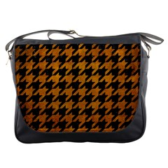 Houndstooth1 Black Marble & Yellow Grunge Messenger Bags by trendistuff