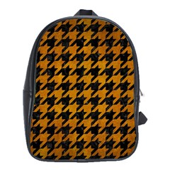 Houndstooth1 Black Marble & Yellow Grunge School Bag (xl) by trendistuff