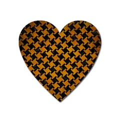 Houndstooth2 Black Marble & Yellow Grunge Heart Magnet by trendistuff