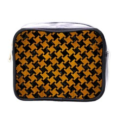 Houndstooth2 Black Marble & Yellow Grunge Mini Toiletries Bags by trendistuff