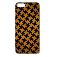 Houndstooth2 Black Marble & Yellow Grunge Apple Seamless Iphone 5 Case (clear) by trendistuff