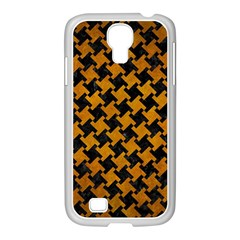 Houndstooth2 Black Marble & Yellow Grunge Samsung Galaxy S4 I9500/ I9505 Case (white) by trendistuff