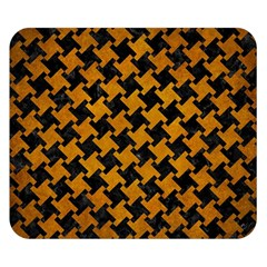 Houndstooth2 Black Marble & Yellow Grunge Double Sided Flano Blanket (small)  by trendistuff