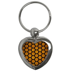 Hexagon2 Black Marble & Yellow Grunge Key Chains (heart)  by trendistuff