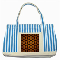 Hexagon2 Black Marble & Yellow Grunge Striped Blue Tote Bag by trendistuff