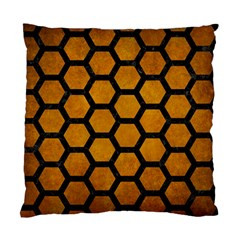 Hexagon2 Black Marble & Yellow Grunge Standard Cushion Case (two Sides) by trendistuff