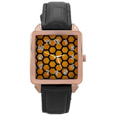 Hexagon2 Black Marble & Yellow Grunge Rose Gold Leather Watch  by trendistuff