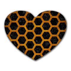 Hexagon2 Black Marble & Yellow Grunge (r) Heart Mousepads by trendistuff
