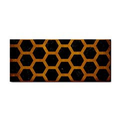 Hexagon2 Black Marble & Yellow Grunge (r) Cosmetic Storage Cases by trendistuff