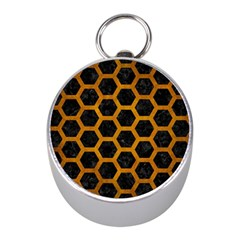 Hexagon2 Black Marble & Yellow Grunge (r) Mini Silver Compasses by trendistuff