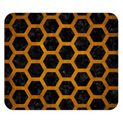 Hexagon2 Black Marble & Yellow Grunge (r) Double Sided Flano Blanket (small)  by trendistuff