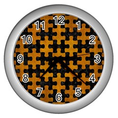 Puzzle1 Black Marble & Yellow Grunge Wall Clocks (silver)  by trendistuff