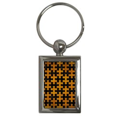 Puzzle1 Black Marble & Yellow Grunge Key Chains (rectangle)  by trendistuff