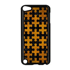 Puzzle1 Black Marble & Yellow Grunge Apple Ipod Touch 5 Case (black) by trendistuff