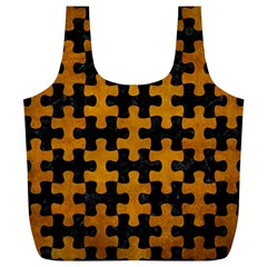 Puzzle1 Black Marble & Yellow Grunge Full Print Recycle Bags (l)  by trendistuff