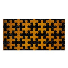Puzzle1 Black Marble & Yellow Grunge Satin Shawl by trendistuff