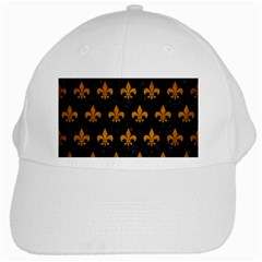 Royal1 Black Marble & Yellow Grunge White Cap by trendistuff