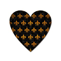 Royal1 Black Marble & Yellow Grunge Heart Magnet by trendistuff