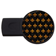 Royal1 Black Marble & Yellow Grunge Usb Flash Drive Round (4 Gb) by trendistuff
