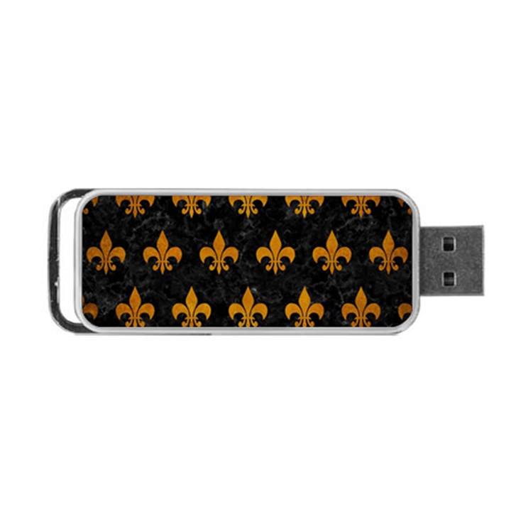 ROYAL1 BLACK MARBLE & YELLOW GRUNGE Portable USB Flash (Two Sides)