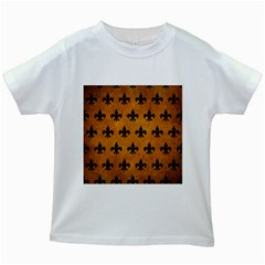 Royal1 Black Marble & Yellow Grunge (r) Kids White T Shirts by trendistuff