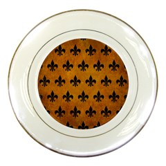 Royal1 Black Marble & Yellow Grunge (r) Porcelain Plates by trendistuff