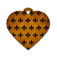 Royal1 Black Marble & Yellow Grunge (r) Dog Tag Heart (two Sides) by trendistuff