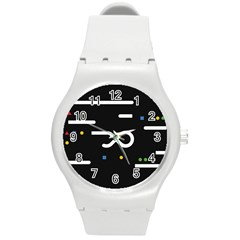 Line Circle Triangle Polka Sign Round Plastic Sport Watch (m) by Mariart