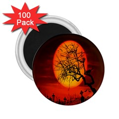 Helloween Midnight Graveyard Silhouette 2 25  Magnets (100 Pack)  by Mariart