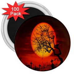 Helloween Midnight Graveyard Silhouette 3  Magnets (100 Pack) by Mariart