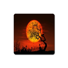 Helloween Midnight Graveyard Silhouette Square Magnet by Mariart