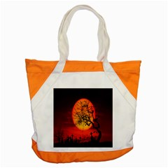 Helloween Midnight Graveyard Silhouette Accent Tote Bag by Mariart