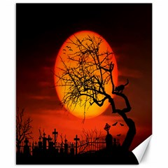 Helloween Midnight Graveyard Silhouette Canvas 8  X 10  by Mariart