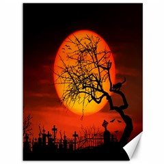 Helloween Midnight Graveyard Silhouette Canvas 36  X 48   by Mariart