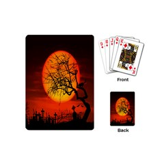 Helloween Midnight Graveyard Silhouette Playing Cards (mini)  by Mariart