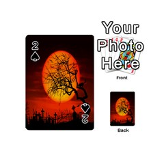 Helloween Midnight Graveyard Silhouette Playing Cards 54 (mini)  by Mariart