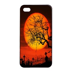 Helloween Midnight Graveyard Silhouette Apple Iphone 4/4s Seamless Case (black) by Mariart